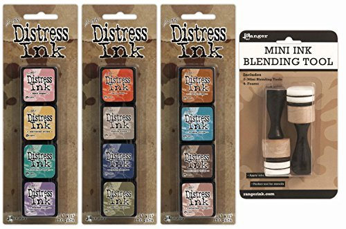 Ranger Tim Holtz Distress Mini Ink Pad Kits 4, 5, 6 and Mini Ink Blending Tool Bundle