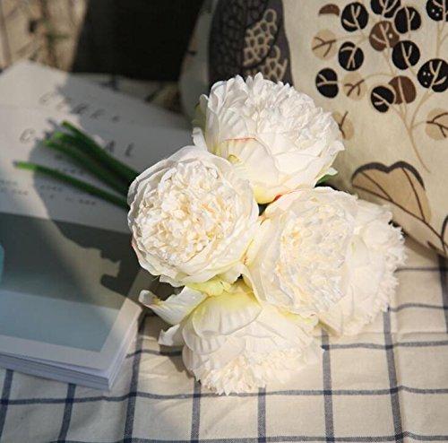 ZTTLOL Künstliche Blume PfingstroseBrautstraußGefälschte Blume Für Hochzeit Home New Year Dekorative Herbst Blume, Weiß