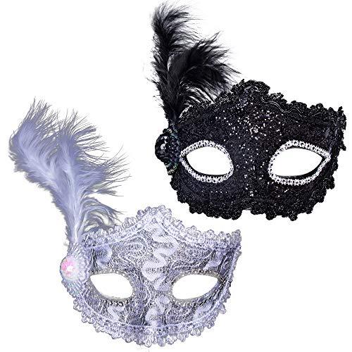 AISHNA Masquerade Masks, 2 Pcs Party Mask Halloween Dress Up Mardi Gras Mask