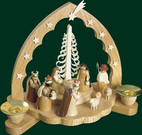Kerzenhalter Christi Geburt, Weihnachtskrippe, Erzgebirge Richard Glässer Seiffen, 17535