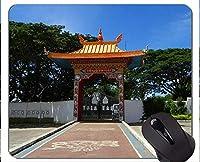 パーソナライズドマウスパッド、Drepung Gomang修道院の門仏善と悪の滑り止めラバーベースマウスパッド