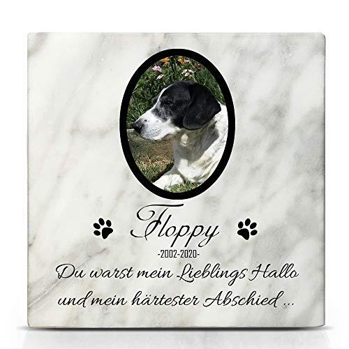 TULLUN Individueller Personalisierter Weißer Natur Marmor Gedenkstein für Hunde, Katze und andere Haustiere - Größe 10 x 10 cm - Foto und Name