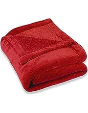 CelinaTex Montreal gosig filt XXL 220 x 240 cm röd korall fleece filt mikrofiber överkast soffa filt