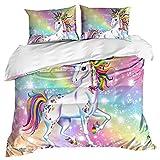 Stillshine Ropa de Cama King Size 220x240 Niña 3D Dibujos Animados Animal Unicornio Arcoiris...