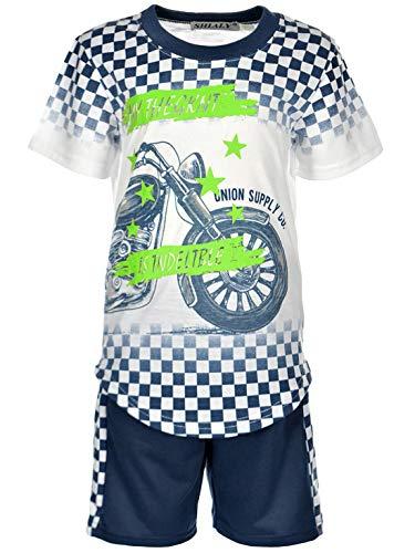 Kinder Jungen Sommer Set T-Shirt Capri Shorts Kurze Hose Stoff Shorts 30314 Navy 104
