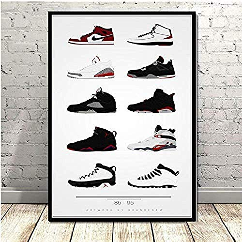 YYLPRQQ Póster E Impresiones Zapatos Air Sneaker History Wall Art Pictures Lienzo Pintura Regalo 40X65Cm