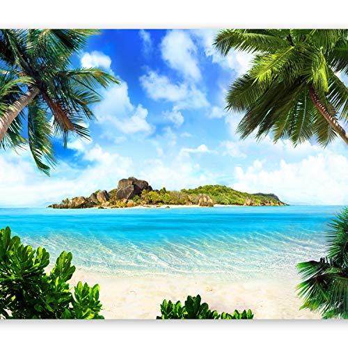murando Fotomurales Palmas 400x280 cm XXL Papel pintado tejido no tejido Decoración de Pared decorativos Murales moderna de Diseno Fotográfico Mar Playa Nube Verde c-B-0271-a-a