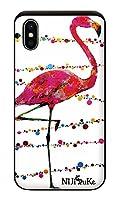 iPhoneXS iPhoneケース (ハードケース) [カード収納/耐衝撃/薄型] フラミンゴ・白 (ホワイト) アイフォンケース スマホケース 携帯電話用ケース CollaBorn Nijisuke (ニジスケ) (iPhoneX対応)