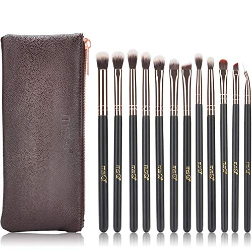 MSQ Lidschatten Pinsel 12pcs Rose Gold Pro Eye Make Up Pinsel Set mit Tasche (PU Ledertasche) Weiche...