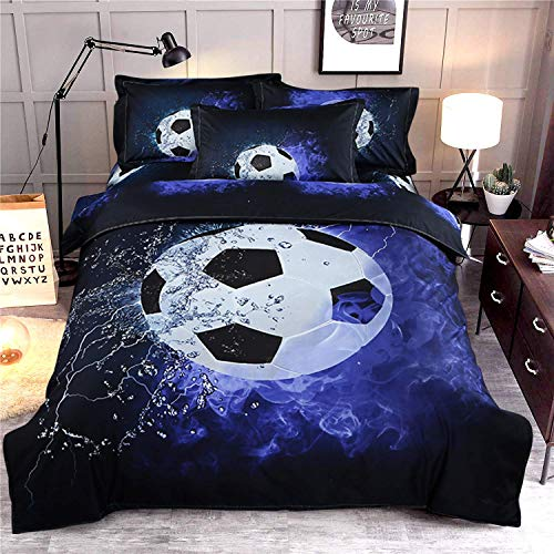 3D Printed Football Sport Bedding Set with 1 Pillowcase,Blue Flame and Ice soccer Duvet Cover with Zipper Closure,Soft Microfiber Quilt Cover Single135 x 200cm