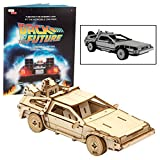 Back to The Future Delorean 3D Wood Puzzle &Model Figure Kit (154 Pcs) - Build & Paint Your Own 3-D Movie Toy - Holiday Educational Gift for Kids & Adults, No Glue Required, 10+
