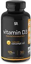 Vitamin D3 (5000iu/125mcg) Infused with Coconut Oil ~ Non-GMO & Gluten Free (360 Mini Liquid Softgels)
