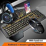 Teclado Mecánico Ratón Headset Kit con El Resto De Muñeca, Ajuste El Soporte, Y El Ratón del Juego Auriculares De Juego For El Ordenador Portátil PC Juegos (Color : D-Set)