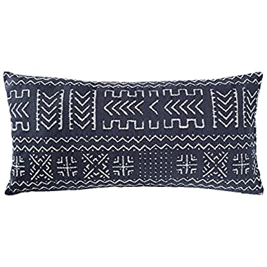Rivet Mudcloth-Inspired Pillow, 12  x 24 , Navy