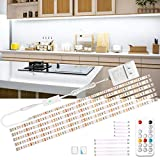 wobsion Led Under Cabinet Lighting, 6 PCS Dimmable Strip Lights with RF Remote, 12V Cabinet Lighting,High Bright with...