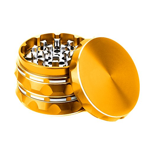 Polygon Grinder, Fancyli Multi-color 4 Pieces Grinder with a cleaning brush (Gold)