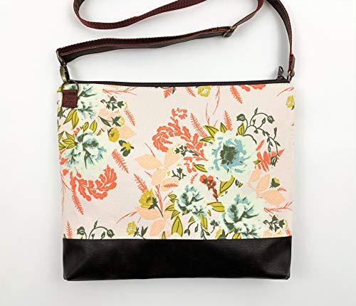 Frauen Umhängetasche mit Blumenmuster in Braun und Rot, Handtasche, Frauenhandtasche