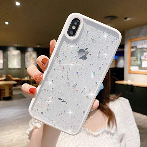 ZTUOK Coque de protection souple et fine pour iPhone XR - Avec étoiles brillantes et brillantes - Blanc