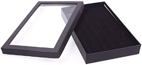 TR.OD Black 36 Slots Finger Ring Studs Jewelry Display Showing Container Box with Clear Cover