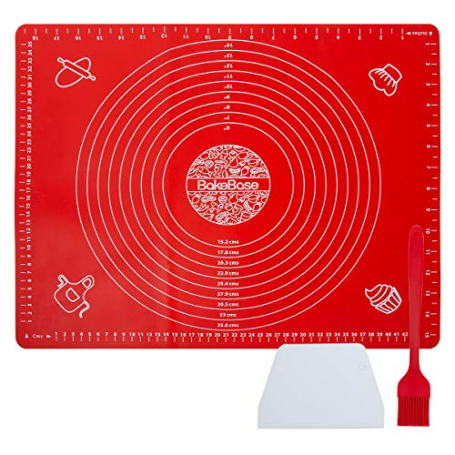 Silicone Pastry Mat with Measurements Bake Base Thick Nonstick Baking Mat for Rolling Dough with Scraper and Brush, Bread Pizza Pie Fondant Crust Mat, Counter Mat(20' x 16', Red)