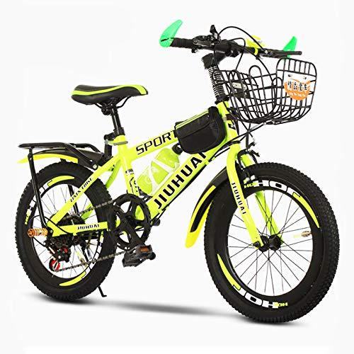 GZMUK Bicicleta para Niños De 18 (20,22) Pulgadas Bicicleta De Montaña Adecuado para Niños Y Niñas De 8 A 18 Años,Amarillo,24in