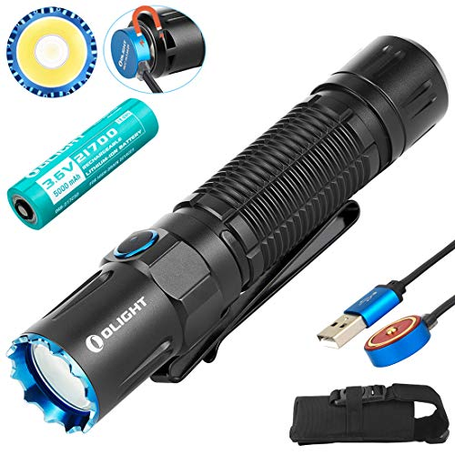 Olight M2R Pro Warrior 1800 Lumens Magnetic Rechargeable Dual Switches Tactical Flashlight with 21700 Battery and SKYBEN Battery Box (Black)