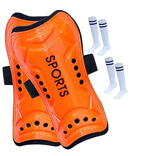 koncy Schienbeinschützer, Kinder Fußball Schienbeinschoner mit 2 Paar Fußballsocken, Leichte Atmungsaktive Wadenschutzausrüstung, Fußball Ausrüstung für Jungs Mädchen (Color : Orange, Size : M)