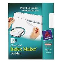 Avery–インデックスメーカークリアラベルディバイダー、8-tab、手紙、ホワイト