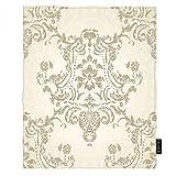 EKOBLA Damask Throw Blanket Vintage Pattern Victorian Renaissance Retro Romantic Elegant Royal Soft Throw Blanket for Bedroom Sofa Couch Car Deck Chair Soft Flannel Fleece 30x40 Inch