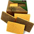 Hot Homey Plant Based Scrub Sponge, Non-Scratch Coconut Fiber & Biodegradable Compostable Cellulose scrubbing sponges for Dishes and Bathroom, No Smell Kitchen Scrubber (6 Pack)