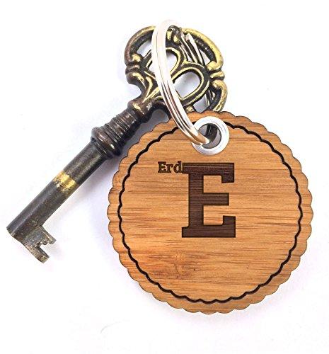 Mr. & Mrs. Panda Schlüsselanhänger Nachname Erdmann Rundwelle - 100% handgefertigt aus Bambus Holz - Anhänger, Geschenk, Nachname, Name, Initialien, Graviert, Gravur, Schlüsselbund, handmade, exklusiv