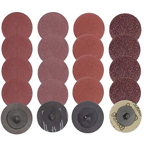Mesee - Juego de discos de lija con bloqueo de rollo, 40 unidades, 2 pulgadas de cambio rápido de discos de lijado Roloc para molino de superficie de pulido abrasivos, 24/60/120/240