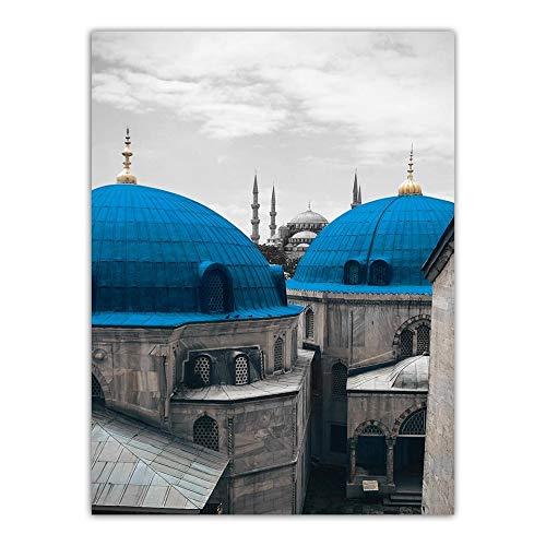LZHProcess Famoso Pintor Arte Cartel Impresiones en Azul Techo Pinturas Decorativas Lienzo Pared Imagen Arte impresión reproducción para la decoración del hogar Listo para Colgar GT