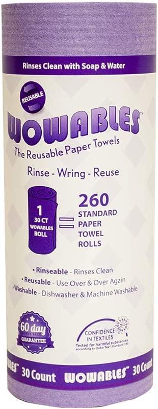 LOLA Wowables Reusable Paper Towel Violet 30 Sheets Of Reusable And Washable Paper Towels Replaces Up To 13 260 Disposable Paper Towel Sheets Dishwasher And Machine Washable