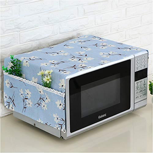 Microwave Oven Dustproof cover, Microwave Protective Cover ,Bettop Anti-Dust Linen Fabric  Microwave Dustproof Cloth Cover with Storage Pockets (Blue Flower)