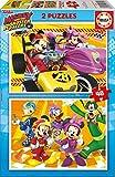 Educa- Mickey and The Roadster Racers 2 Puzzles infantiles de 48 piezas, a partir de 4 años (17239)