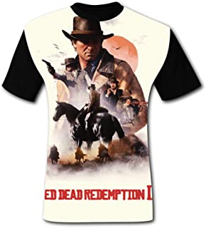 Art Red Dead Redemp-Tion 2 Men's T-Shirt 3D Printed Graphic T Shirt Crew Tees Blouse for Men