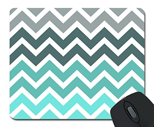 Gery Turquoise Chevron Mouse Pad Mousepad