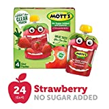 Mott's No Sugar Added Strawberry Applesauce, 3.2 Ounce (Pack of 24), Clear Pouch, 4 Count, Perfect for on-the-go, No Added Sugars or Sweeteners, Gluten Free and Vegan