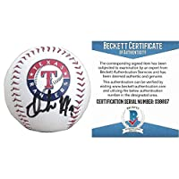 Isiah Kiner Falefa Autographed Signed Texas Rangers Logo Baseball with Exact Proof Photo of Signing and Beckett BAS Authentication Cert S38697