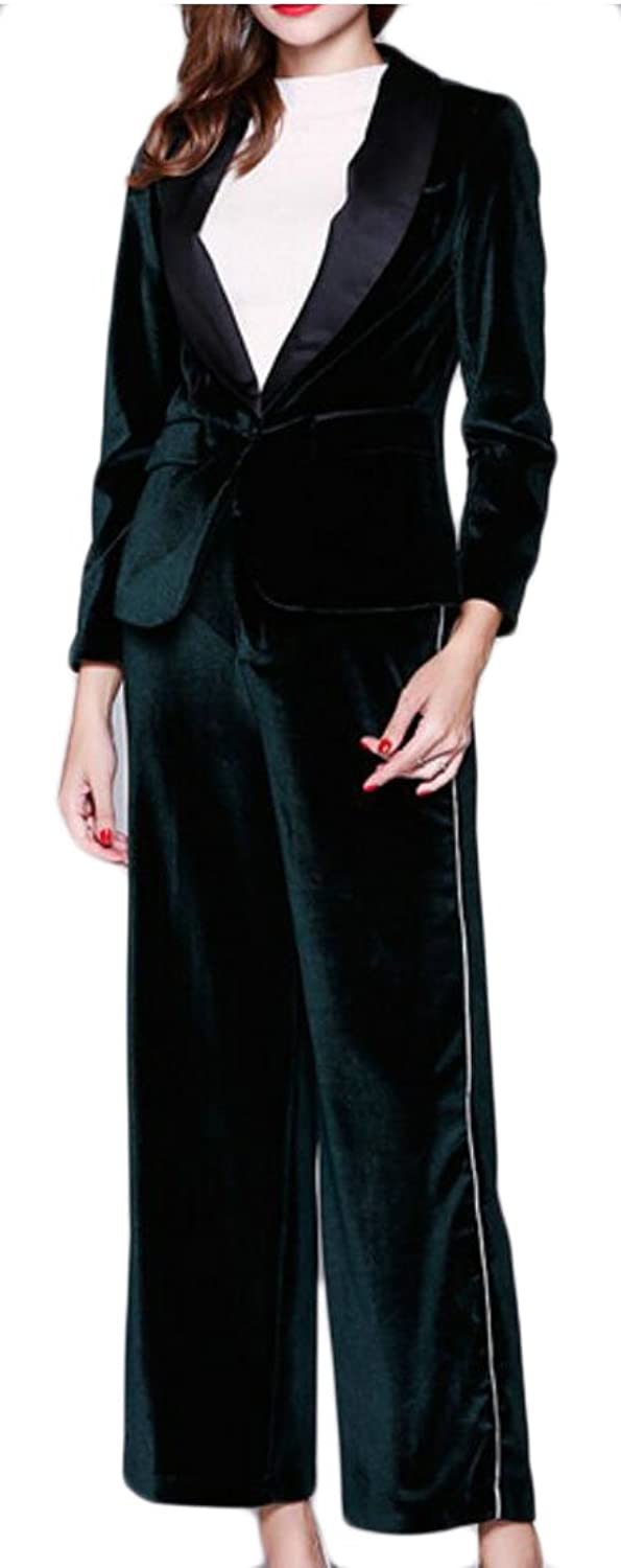 GAGA Women's Winter Sexy Long Sleeve Velvet Suit 2 Pieces Outfits