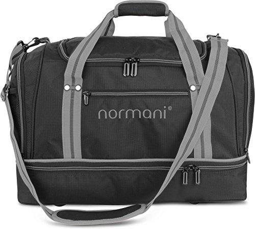 normani Sporttasche 58 Liter - Fitnesstasche - Reisetasche mit großem Schuhfach und Nassfach für Damen und Herren   55 cm x 30 cm x 36 cm Farbe Grau
