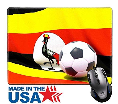 MSD Naturkautschuk Maus Pad/Matte mit genähte Kanten 9,8x 7,9Flagge von Uganda mit Fußball in vor es Bild 24716884