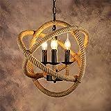 Cuerda Cáñamo Vintage Industrial Lámpara,Loft Luz,Luz Colgante,Lámpara Colgante, Forma Bola...