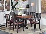 East-West Furniture AVON7-BLK-LC dinette table set- 6 Great wooden dining chairs - A Beautiful round dining table- Faux Leather seat, Cherry and Black Finnish Butterfly Leaf round wooden dining table