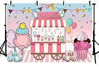 新しい7x5ftキャンディショップキャンディランドガールバースデーパーティーピンクの背景甘いロリポップショップアイスクリームフラグバルーン休日写真背景テーブルデザート用品装飾バナー写真ブース