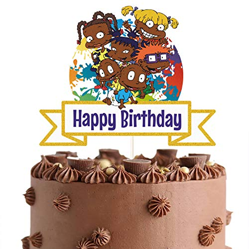 LYNHEVA Glitter Rugrats Happy Birthday Cake Topper, African American Babies Cake Topper, Rugrats Friends Theme Birthday Party Supplies, Baby Shower Decoration