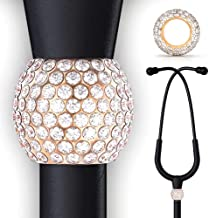 BJÖRN HALL Stethoscope Charms for Littman | | Fits Classic III | Stand Out Bling Crystal Stethoscope Charms | Perfect Gift & Accessory for A Nurse Respiratory, Vet | Rose Gold - Diamond Crush Crystal