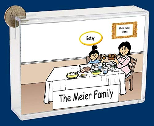 Personalized NTT Cartoon Caricature Bank: Family Dinner 2 Boys, 1 Girl