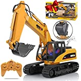 KKNY Remote Control Excavator Toy 1/14 Scale RC Excavator 15 Channel 2.4Ghz Full Functional Construction Vehicles RC Truck with Lights Sounds Xmas Gift for Boys Kids(Upgrade) (1:14-1)